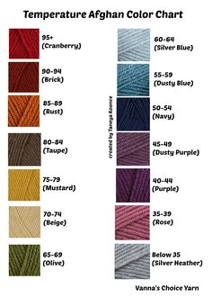 More color choices for my temperature crochet blanket. Ultimately, I changed my mind again!