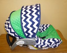 Navy Chevron with Kelly Green Infant Car Seat Cover. $65.00, via Etsy. - A twin boy and girl