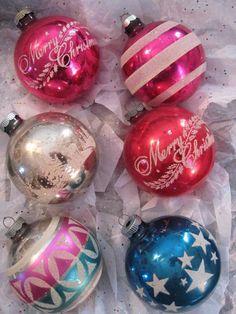 Large Vtg SHINY BRITE Stencil Mercury Glass Ornaments Merry Christmas Lot