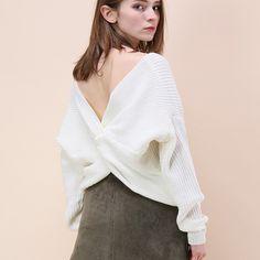 d69f9d00ec Fetoo V Neck Criss-cross Wrap Sweater Loose Long Sleeve Knitwear Thin  Pullovers Knitted Sweater Women Crochet Jumper Outerwear