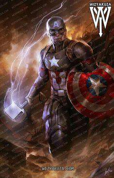 Captain America with Mjolnir Marvel Art, Marvel Heroes, Marvel Avengers, Comic Book Characters, Marvel Characters, Captain Marvel Shazam, Captain America Movie, Asgard, Avengers Wallpaper