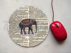 Elephant on Dictionary Mousepad Office Mousepad by BlueBoxy