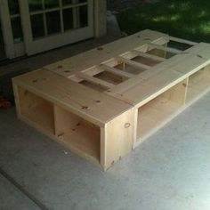 twin storage bed prior to painting, boys room, bed bookshelf Twin Storage Bed, Bed Frame With Storage, Diy Twin Bed Frame, Bed Design, House Design, Diy Bett, Diy Daybed, Painted Beds, Big Girl Rooms