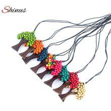 Maxi Long Necklaces Boho Ethnic Tree Of Life Rainbow Pendant Wooded Handmade Beads