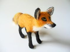 Needle Felted Red Fox Handmade Wool Fox Soft Sculpture Miniature Woodland Animal Felted Fox Wildlife Animals Fox Figurine Nature Inspired