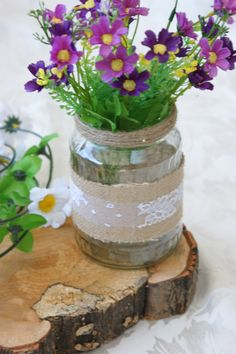 Hessian wrapped with lace and hessian string. Flowers not included. (P&P not included) Hessian, Beautiful Hands, Decorating Your Home, Glass Vase, Shabby Chic, Rustic, Lace, Flowers, Shop