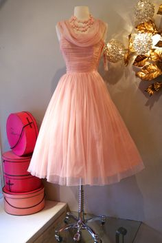 Vintage Pink Chiffon #dress #1950s #partydress #vintage #frock #silk #retro #teadress #petticoat #romantic #feminine #fashion