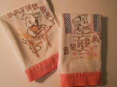 hand embroidered vintage dish cloth tea towels days of the week