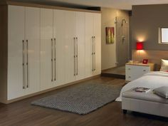 White Color For Gloss Fitted Wardrobe