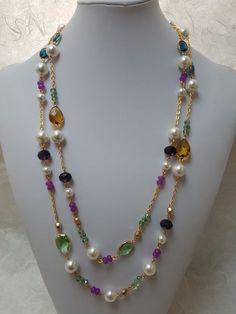 2 tier pearl and stone gems necklace - DIY Schmuck Jewelry Design Earrings, Bead Jewellery, Pearl Jewelry, Stone Jewelry, Wire Jewelry, Jewelry Art, Jewelry Bracelets, Vintage Jewelry, Fashion Jewelry
