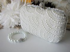 Wedding Bag Clutch Formal Evening Bag with Faux pearl and Matching Bracelet by weddingswithflair on Etsy