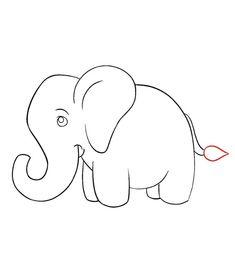 Elephant Drawing For Kids, Cartoon Elephant Drawing, Elephants For Kids, Elephant Drawings, Animal Drawings, Art Drawings, Easy Painting For Kids, Easy Drawings For Kids, Girl Face Drawing