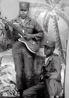 Jimi Hendrix and his Silvertone/Danelectro guitar, model 3021 - Sept 1961 Ft Campbell, KY.