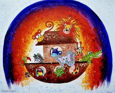 Noahs Ark Childrens Nursery Art. Colourful by EmmaCampbellArt