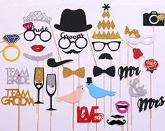 Amazon.com: Wedding Photo Booth Props new design 2016, wedding decorations, photo props, 31 pcs attached to the stick NO DIY required only from USA-Sales Seller, Ships from USA: Camera & Photo