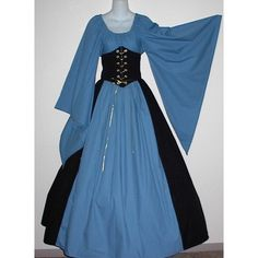 Dagget Sleeve Cincher Set - renaissance clothing, medieval, costume ❤ liked on Polyvore featuring costumes, dresses, medieval, gowns, medieval clothes, blue halloween costume, renaissance halloween costumes, renaissance costumes y blue costume