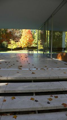 farnsworth house steps, fall                                                                                                                                                                                 More Casa Farnsworth, Glass House Design, Villa, Ludwig Mies Van Der Rohe, Architecture Images, Facade House, Mid Century House, Building Design, Mid-century Modern