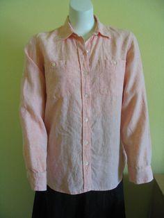 LAUREN RALPH LAUREN Size L Womens Shirt Top Long or Rolled Up Sleeves Peach  #LaurenRalphLauren #ButtonDownShirt #Versatile