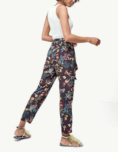 Floral paperbag trousers - Trousers | Stradivarius Other Countries