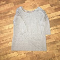 Gray top with back lace detail Gray, quarter length sleeve, back lace detail top Maurices Tops