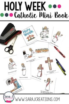 Looking for some activities for kids to do during Holy Week? Check out these easy to use printable mini books. Easy to use and helps kids to remember the timeline of events for that most important week in history. Perfect for your Catholic classroom. Teaching First Grade, Help Teaching, Teaching Kindergarten, Teaching Ideas, Holy Week Activities, Printable Activities For Kids, Catholic Kids, Catholic Homeschooling, Holy Week Timeline