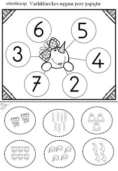 Sayı nesne eşleştirme Christmas Worksheets Kindergarten, Preschool Kindergarten, Sequencing Worksheets, Therapy Worksheets, Dinosaurs Preschool, Math Numbers, Free Math, Play To Learn, Math Games