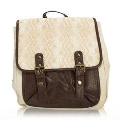 Valencia Juniors Crochet Flap Fabric Backpack Purse