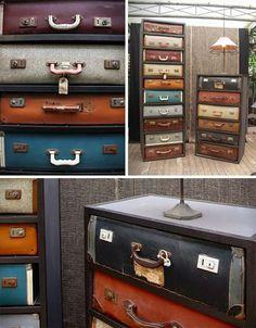 Hergebruikte koffers als materiaal voor een ladenkast.