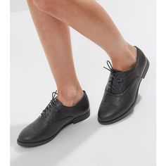 Wide Fit Black Embossed Brogues ($25) ❤ liked on Polyvore featuring shoes, oxfords, black, vegan oxfords, black lace up shoes, black brogues, laced up shoes and wide fit shoes