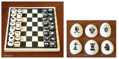 DIY idea - chess pieces made from pebbles