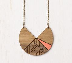 Lunar - Peach Geometric Tribal Wood Necklace - laser cut