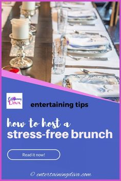 Learn how to host a stress-free brunch with these tips that will make entertaining a breeze. #entertainingdiva #brunch #4thofjuly #babyshower #bridalshower #partyideas
