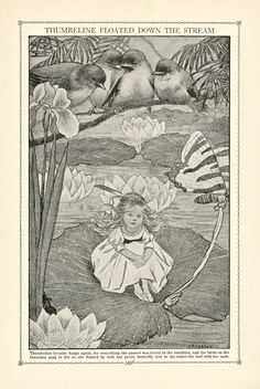 Thumbelina, a 1919 Illustration found in The Book of Knowledge from an Ephemera Grab Bag on Fairy Tales.