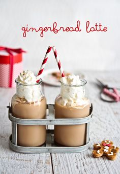 Gingerbread Latte. 1/2 cup espresso coffee, 1.5 cups whole milk, 4Tbs golden syrup, 1tsp ground ginger, 1/4tsp mix spice, whipped cream to serve.