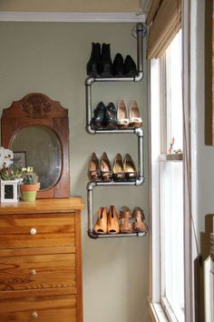 20 Creative Shoe Storage Ideas For Small Spaces. Pipe as creative shoe rack This creative DIY pipe rack does not only hold your shoes but also adds a touch of industrial modern charm to any apartment. Shoe Storage Design, Diy Shoe Storage, Diy Shoe Rack, Creative Storage, Storage Ideas, Shoe Racks, Shelving Design, Rack Design, Smart Storage