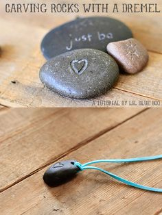 How-To: Carve Rocks with a Dremel. Just inherited my dad's dremel tool. Looks like a fun project. I don't even know what a dremel is but I like rocks. Stone Crafts, Rock Crafts, Fun Crafts, Arts And Crafts, Holiday Crafts, Jewelry Crafts, Handmade Jewelry, Diy Jewellery, Fashion Jewelry