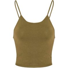 Olive Green Knitted Crop Top (33 AUD) ❤ liked on Polyvore featuring tops, green, green top, spaghetti strap top, olive green tank top, brown tops and rayon tops