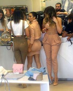 Reality star sisters Kim Kardashian, Khloe Kardashian, and Kylie Jenner do some shopping together in Miami, Florida on March 12, 2014.