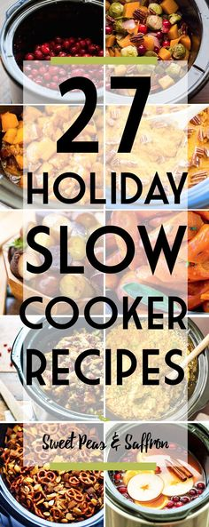 These holiday slow cooker recipes are going to save space in your oven, and let you 'set and forget' for a stress free meal! Sides, appetizers and drinks.