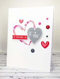Sweet Be Mine Card | A CAS style Valentine's Day card I crea… | Flickr