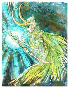"""Loki Marvel Illustration 8"""" x 10"""" Colorful Art Print  #Loki #Marvel #Illustration #LemonWatercolor"""