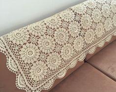 Handmade Coffee Curtain crocheted door curtain by LynnLakeWorkshop
