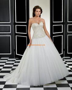 Robes de mariée 2015 en tulle applique perles pailletés lacets