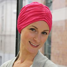 Bamboo RayonTurban (Elegant). Experience the softest, most comfortable turban ever! Two layers of silky bamboo rayon. The outside layer is gathered in three horizontal seams for shape and texture. The inside layer is smooth and soothing to your head. Makes a wonderful gift for cancer patients.
