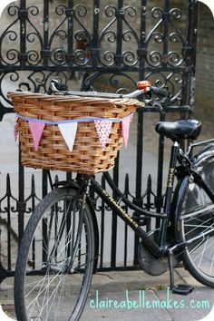 diy bike basket bunting...need to do this for my future bicycle!!