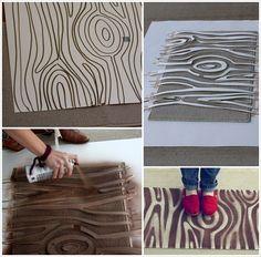 rug revamp with spray paint and wood grain diy stencil  amazinginteriordesign.com