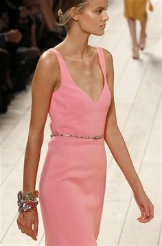 A model wears a creation for Nina Ricci's Spring/Summer 2015 ready-to-wear fashion collection, presented in Paris, France, Thursday, Sept. 25, 2014. (AP Photo/Jacques Brinon)