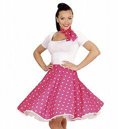Lunares falda de 1950 y bufanda Set Adultas - Disfraz - Rosa - Tamaño 38-40 #Lunares #falda #bufanda #Adultas #Disfraz #Rosa #Tamaño