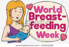 Lovely blond haired mom with her baby next to a speech bubble and hearts in hand drawn style, celebrating World Breastfeeding Week. World Breastfeeding Week, Baby Next, Hand Drawn, Blond, Bubble, How To Draw Hands, Royalty Free Stock Photos, Hearts, Mom