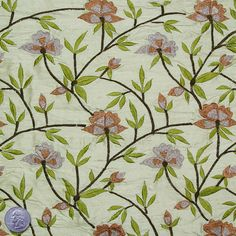 Silk Embroidered Woodland Floral Shantung Fabric – Designer Fabric by The Yard